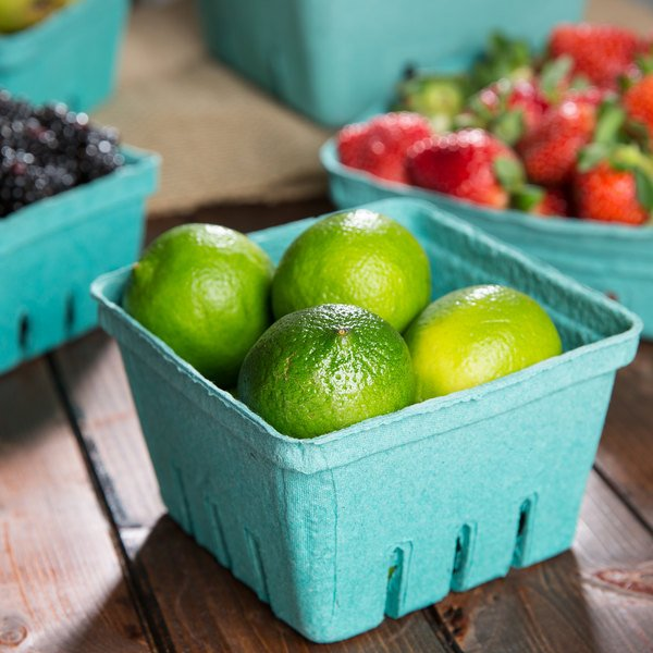 EcoChoice 1 Qt. Green Molded Pulp Berry / Produce Basket - 25/Pack