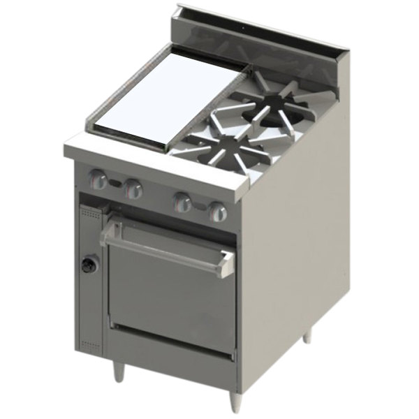 "Blodgett BR-12G-2-24C Liquid Propane 2 Burner 24"" Manual Range with 12"" Griddle and Convection Oven Base - 114,000 BTU Main Image 1"
