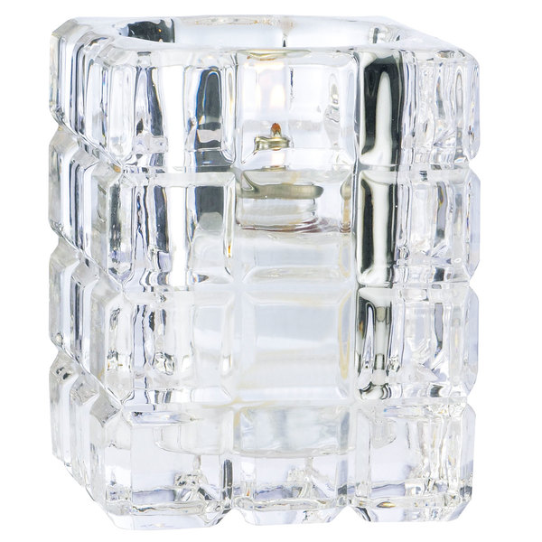"Sterno Products 80150 3 3/4"" Clear Krystle Square Liquid Candle Holder"