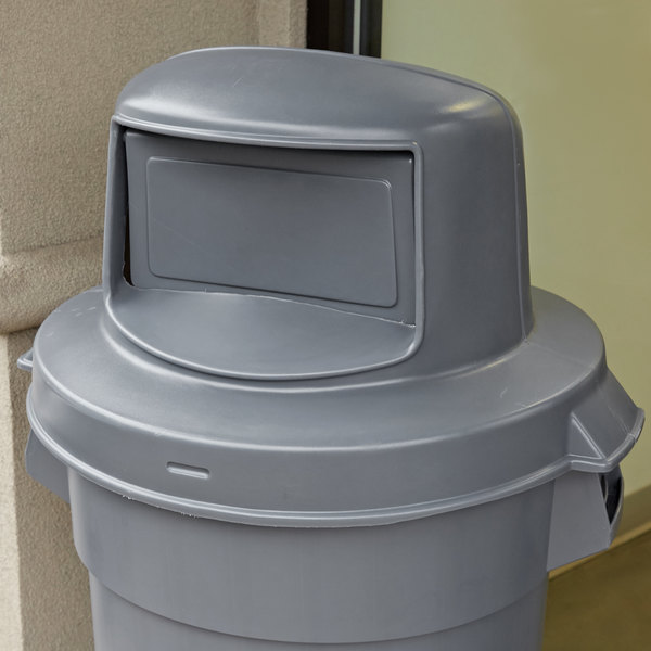 Continental 5550GY Huskee 55 Gallon Gray Round Dome Top Trash Can Lid Main Image 4