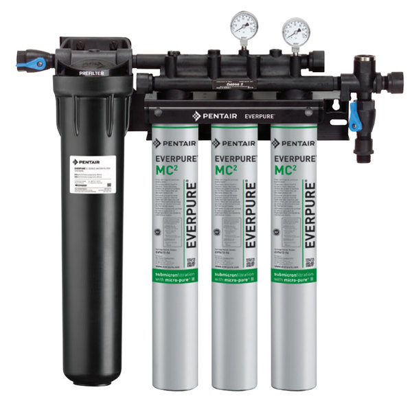 Everpure EV9328-03 Coldrink Triple 3-MC2 Water Filtration System with Pre-Filter - .5 Micron and 5 GPM Main Image 1