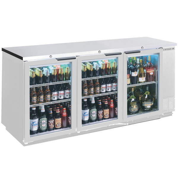 "Beverage-Air BB72HC-1-G-S 72"" Stainless Steel Glass Door Back Bar Refrigerator"