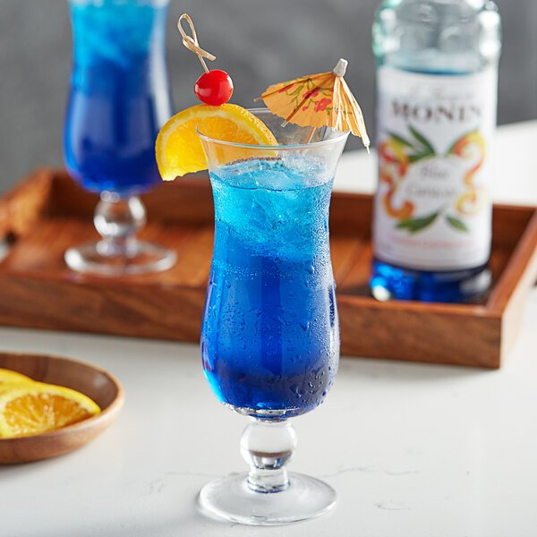 Monin 750 mL Premium Blue Curacao Flavoring Syrup Main Image 2