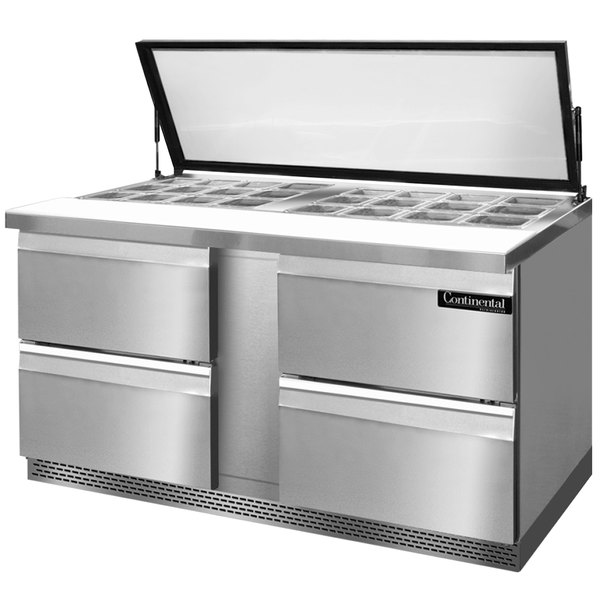 "Continental Refrigerator SW60-24M-HGL-FB-D 60"" 4 Drawer Mighty Top Front Breathing Hinged Glass Lid Refrigerated Sandwich Prep Table"