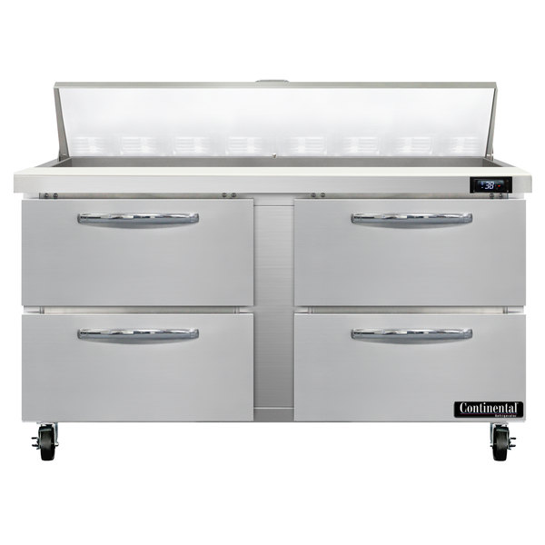 """Continental Refrigerator SW60-16-D 60"""" 4 Drawer Refrigerated Sandwich Prep Table"""