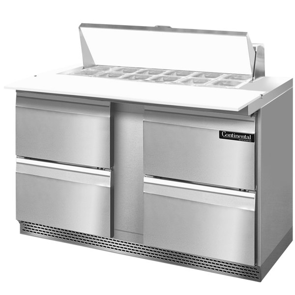 """Continental Refrigerator SW60-12C-FB-D 60"""" 4 Drawer Cutting Top Front Breathing Refrigerated Sandwich Prep Table"""