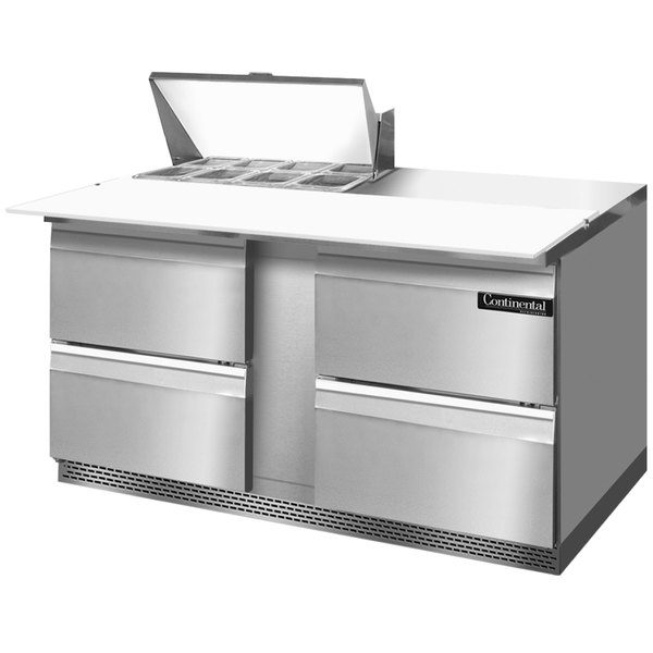 """Continental Refrigerator SW60-8C-FB-D 60"""" 4 Drawer Cutting Top Front Breathing Refrigerated Sandwich Prep Table"""