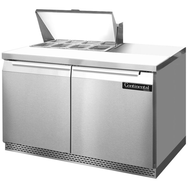 """Continental Refrigerator SW48-8-FB 48"""" 2 Door Front Breathing Refrigerated Sandwich Prep Table"""