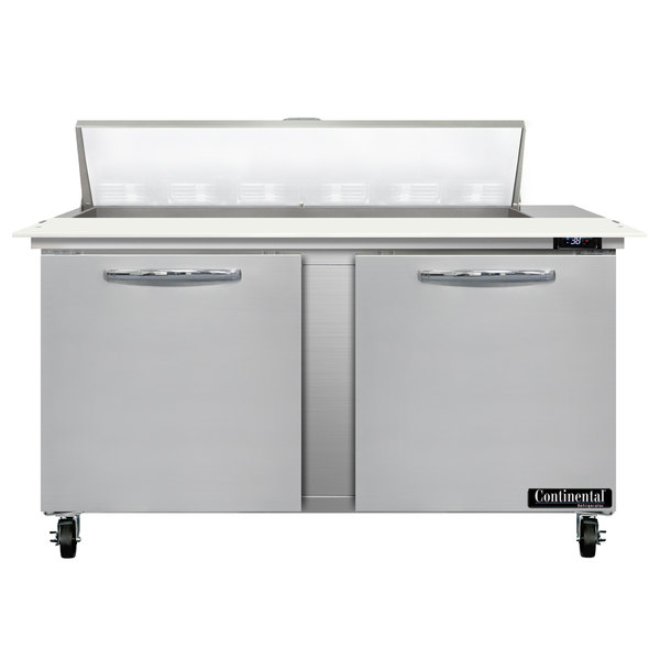 """Continental Refrigerator SW60-12C 60"""" 2 Door Cutting Top Refrigerated Sandwich Prep Table"""