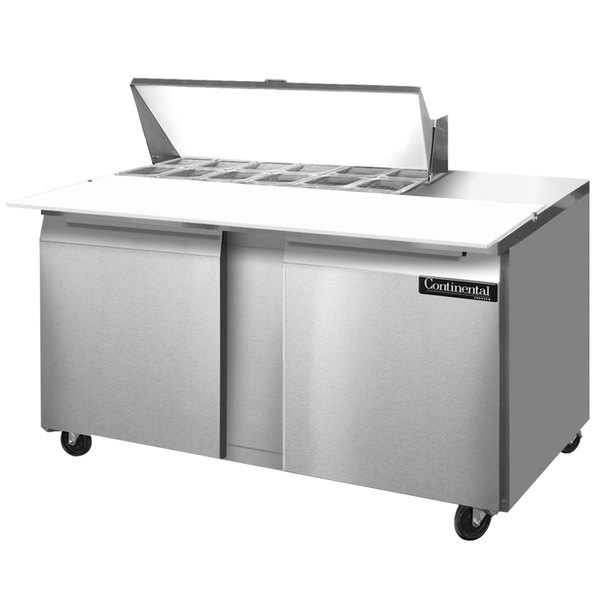 "Continental Refrigerator SW60-12C 60"" 2 Door Cutting Top Refrigerated Sandwich Prep Table"