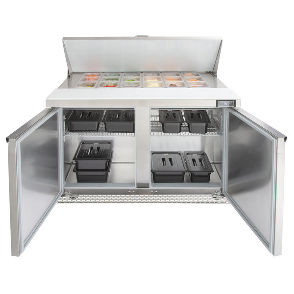 """Continental Refrigerator SW48-18M-FB 48"""" 2 Door Mighty Top Front Breathing Refrigerated Sandwich Prep Table"""