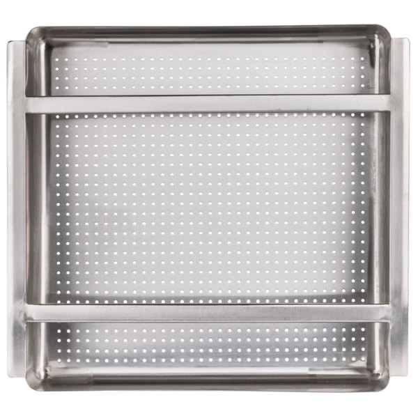 """Regency 19 1/2"""" x 19 1/2"""" x 4"""" 18-Gauge Stainless Steel Scrap / Pre-Rinse Basket with Stainless Steel Slides"""