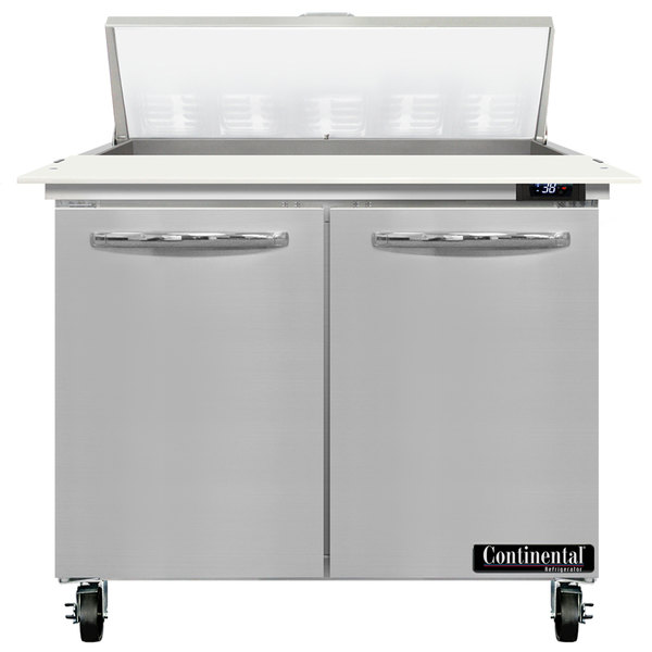 "Continental Refrigerator SW36-10C 36"" 2 Door Cutting Top Refrigerated Sandwich Prep Table Main Image 1"