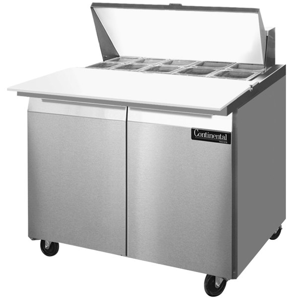 "Continental Refrigerator SW36-10C 36"" 2 Door Cutting Top Refrigerated Sandwich Prep Table"