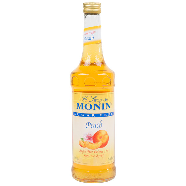 Monin 750 mL Sugar Free Peach Flavoring / Fruit Syrup