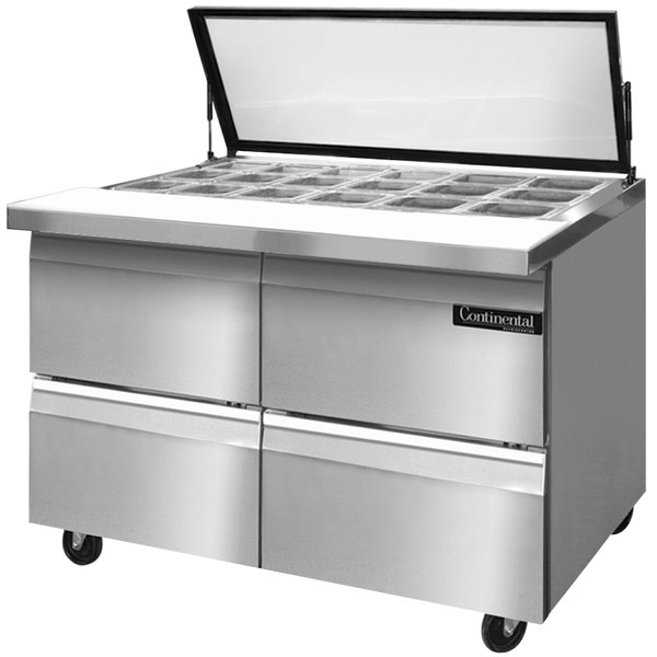 "Continental Refrigerator SW48-18M-HGL-D 48"" 4 Drawer Mighty Top Hinged Glass Lid Refrigerated Sandwich Prep Table"