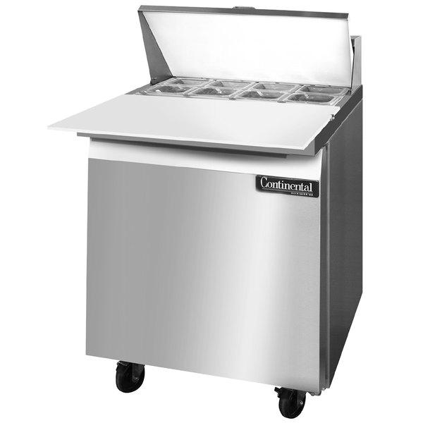 "Continental Refrigerator SW27-8C 27"" 1 Door Refrigerated Sandwich Prep Table"