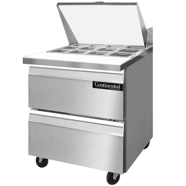 """Continental Refrigerator SW27-12M-D 27"""" 2 Drawer Mighty Top Refrigerated Sandwich Prep Table"""