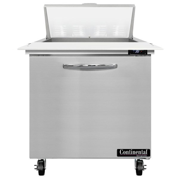 """Continental Refrigerator SW32-8C 32"""" 1 Door Cutting Top Refrigerated Sandwich Prep Table"""