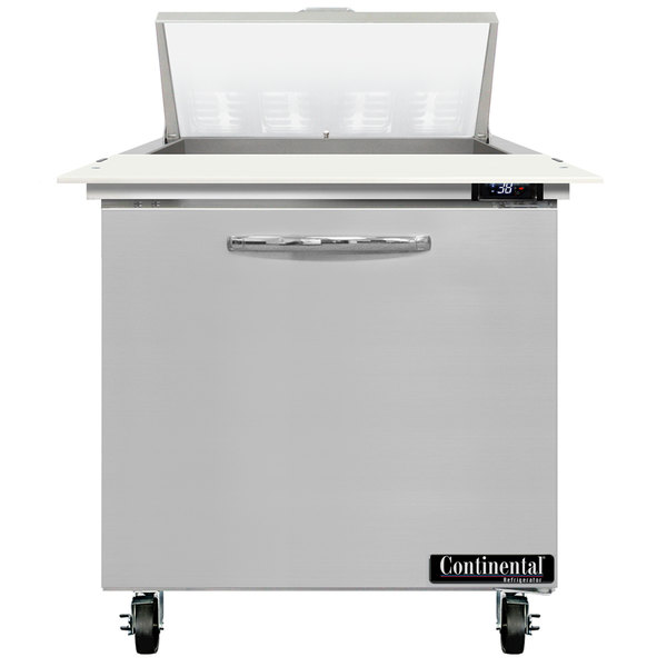 """Continental Refrigerator SW32-8C 32"""" 1 Door Cutting Top Refrigerated Sandwich Prep Table Main Image 1"""