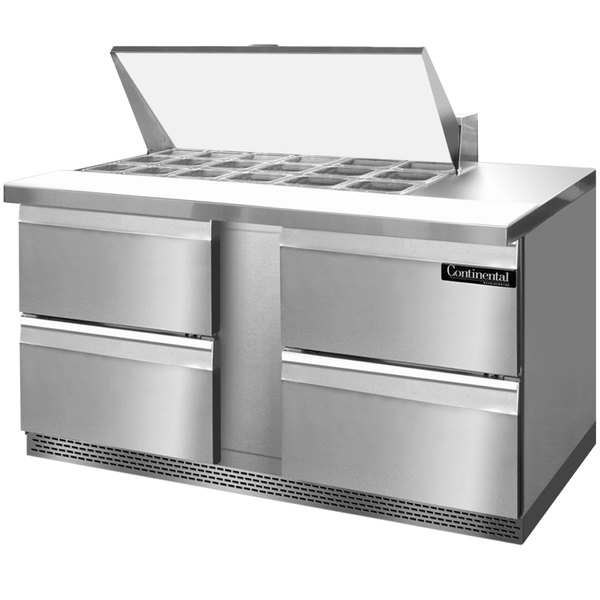 "Continental Refrigerator SW60-18M-FB-D 60"" 4 Drawer Mighty Top Front Breathing Refrigerated Sandwich Prep Table"