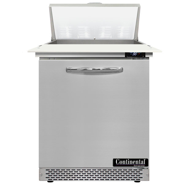 """Continental Refrigerator SW27-8C-FB 27"""" 1 Door Cutting Top Front Breathing Refrigerated Sandwich Prep Table"""