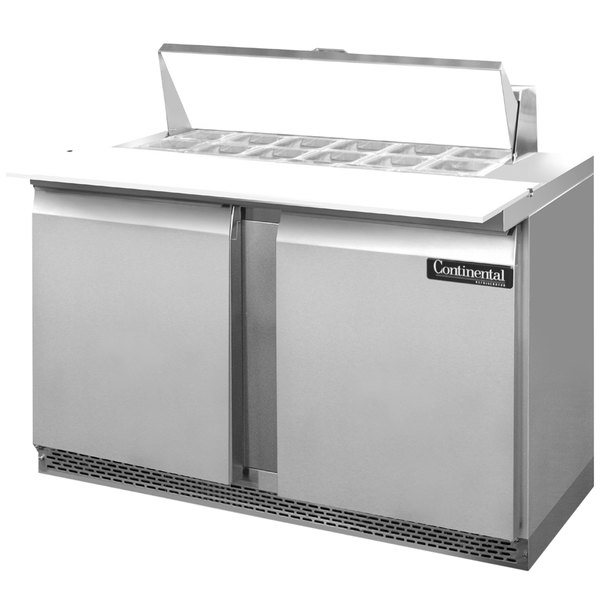 """Continental Refrigerator SW60-12C-FB 60"""" 2 Door Cutting Top Front Breathing Refrigerated Sandwich Prep Table"""