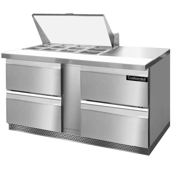 """Continental Refrigerator SW60-12M-FB-D 60"""" 4 Drawer Mighty Top Front Breathing Refrigerated Sandwich Prep Table"""