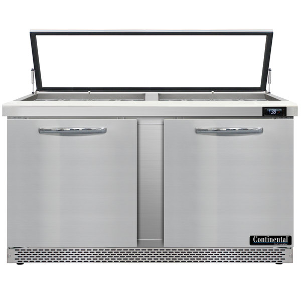 """Continental Refrigerator SW60-24M-HGL-FB 60"""" 2 Door Mighty Top Front Breathing Hinged Glass Lid Refrigerated Sandwich Prep Table"""