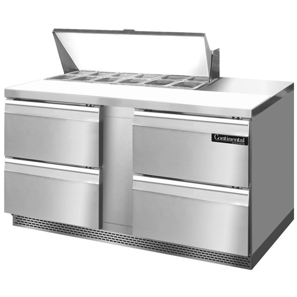 """Continental Refrigerator SW60-12-FB-D 60"""" 4 Drawer Front Breathing Refrigerated Sandwich Prep Table"""