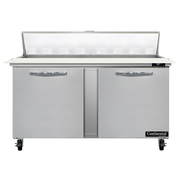 """Continental Refrigerator SW60-16C 60"""" 2 Door Cutting Top Refrigerated Sandwich Prep Table Main Image 1"""