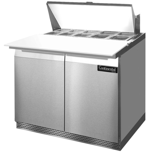 """Continental Refrigerator SW36-10C-FB 36"""" 2 Door Cutting Top Front Breathing Refrigerated Sandwich Prep Table"""