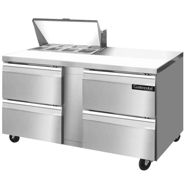 "Continental Refrigerator SW60-8-D 60"" 4 Drawer Refrigerated Sandwich Prep Table"
