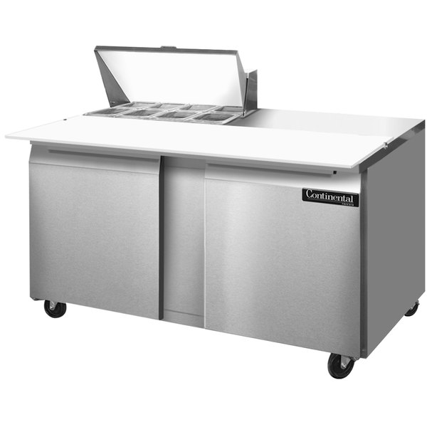 """Continental Refrigerator SW60-8C 60"""" 2 Door Cutting Top Refrigerated Sandwich Prep Table"""