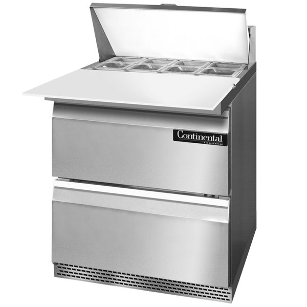 """Continental Refrigerator SW27-8C-FB-D 27"""" 2 Drawer Cutting Top Front Breathing Refrigerated Sandwich Prep Table"""