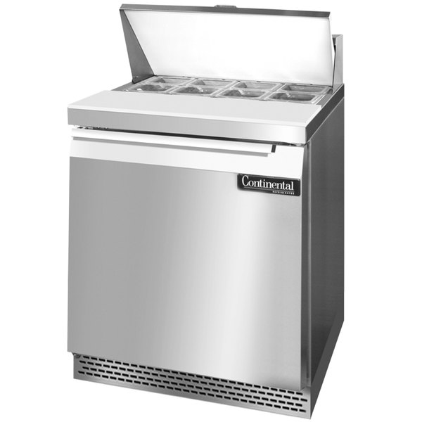 """Continental Refrigerator SW27-8-FB 27"""" 1 Door Front Breathing Refrigerated Sandwich Prep Table"""