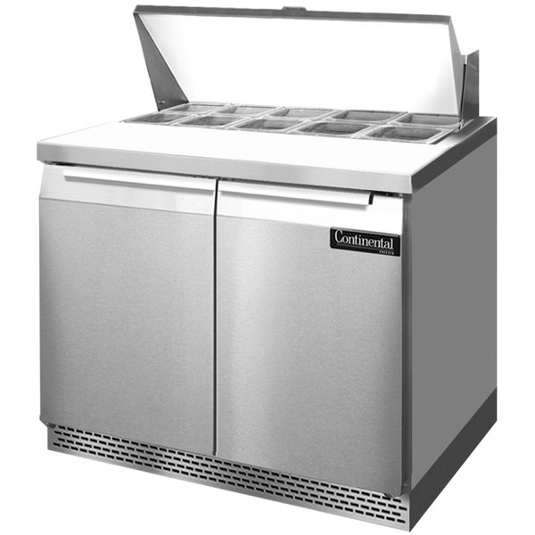 "Continental Refrigerator SW36-10-FB 36"" 2 Door Front Breathing Refrigerated Sandwich Prep Table"