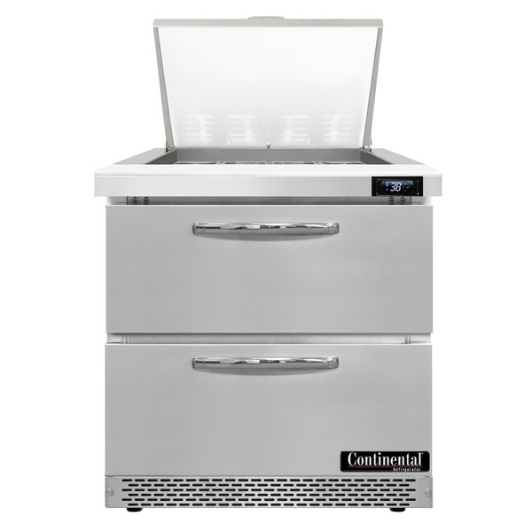 "Continental Refrigerator SW32-12M-FB-D 32"" 2 Drawer Mighty Top Front Breathing Refrigerated Sandwich Prep Table Main Image 1"