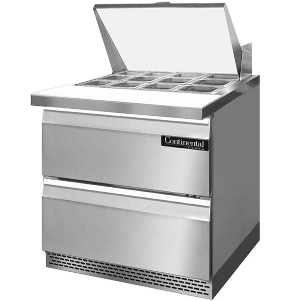 """Continental Refrigerator SW32-12M-FB-D 32"""" 2 Drawer Mighty Top Front Breathing Refrigerated Sandwich Prep Table"""