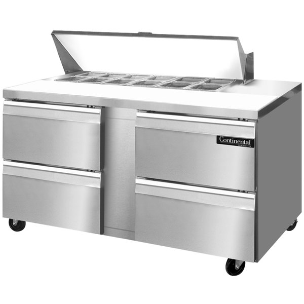 """Continental Refrigerator SW60-12-D 60"""" 4 Drawer Refrigerated Sandwich Prep Table"""