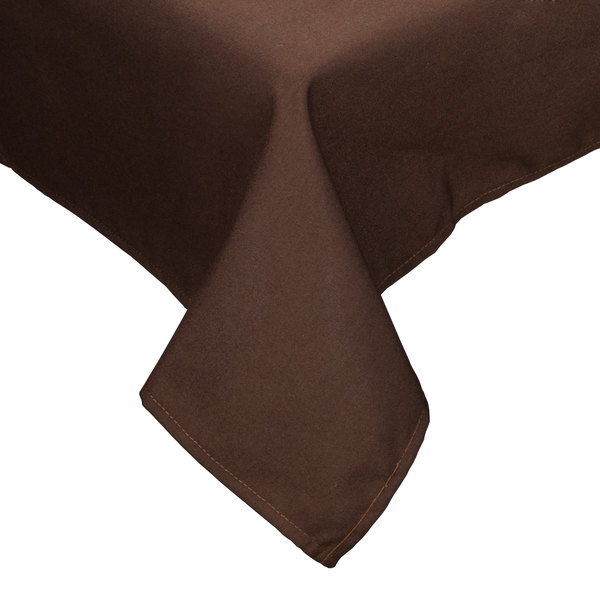 "36"" x 36"" Brown Hemmed Polyspun Cloth Table Cover"