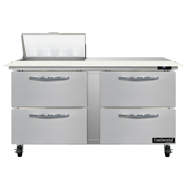 "Continental Refrigerator SW60-8C-D 60"" 4 Drawer Cutting Top Refrigerated Sandwich Prep Table"