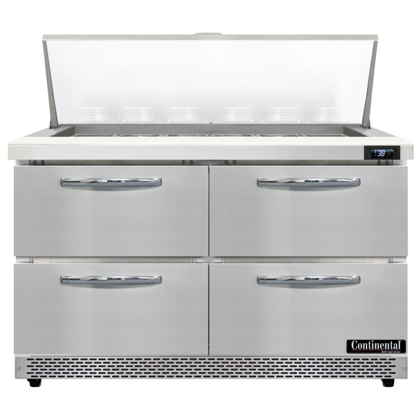 """Continental Refrigerator SW48-18M-FB-D 48"""" 4 Drawer Mighty Top Front Breathing Refrigerated Sandwich Prep Table Main Image 1"""
