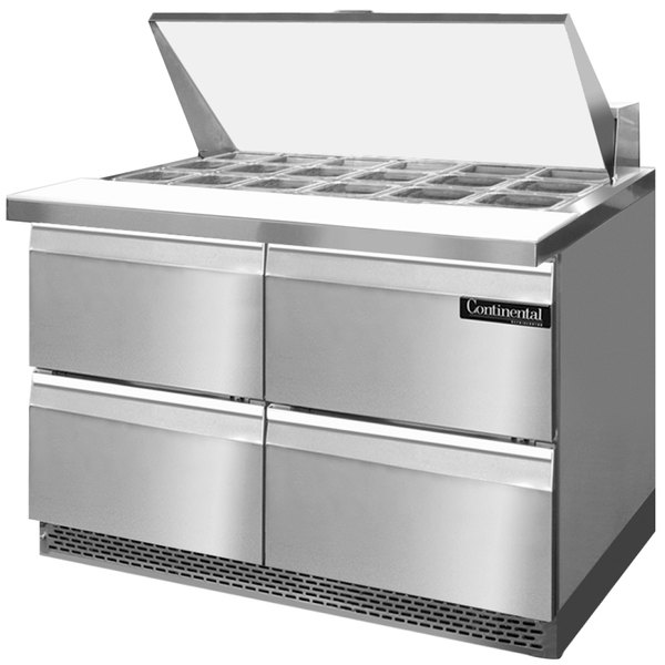 "Continental Refrigerator SW48-18M-FB-D 48"" 4 Drawer Mighty Top Front Breathing Refrigerated Sandwich Prep Table"