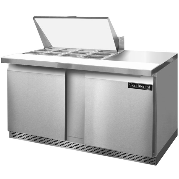 """Continental Refrigerator SW60-12M-FB 60"""" 2 Door Mighty Top Front Breathing Refrigerated Sandwich Prep Table"""