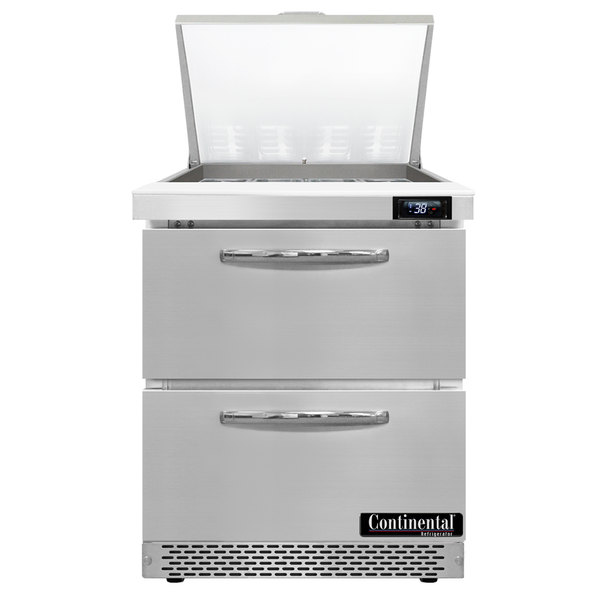 """Continental Refrigerator SW27-12M-FB-D 27"""" 2 Drawer Mighty Top Front Breathing Refrigerated Sandwich Prep Table Main Image 1"""