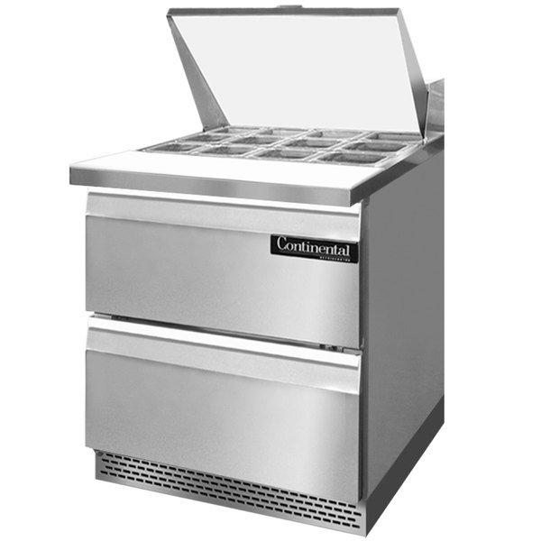 """Continental Refrigerator SW27-12M-FB-D 27"""" 2 Drawer Mighty Top Front Breathing Refrigerated Sandwich Prep Table"""
