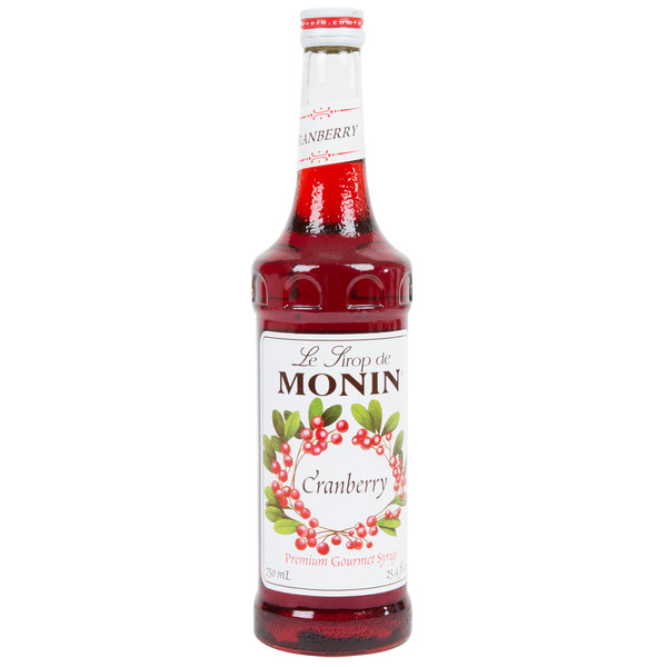 Monin 750 mL Premium Cranberry Flavoring / Fruit Syrup Main Image 1