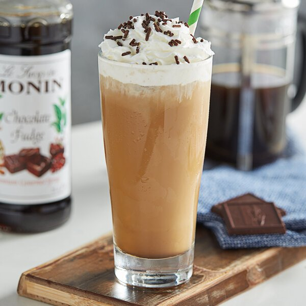 Monin 750 mL Premium Chocolate Fudge Flavoring Syrup Main Image 2