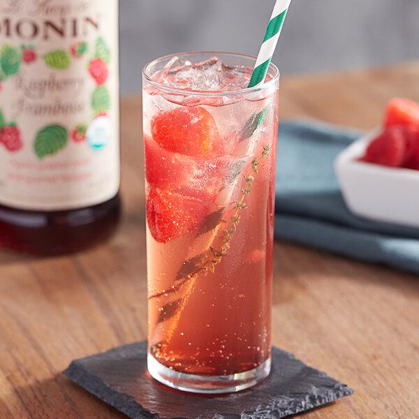 Monin 750 mL Organic Raspberry Flavoring / Fruit Syrup Main Image 2